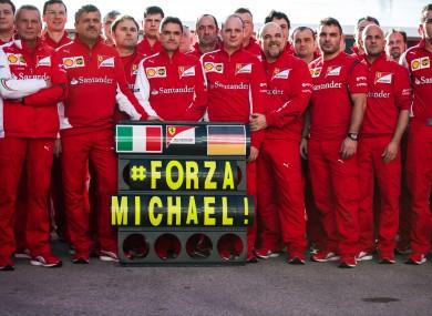 Ferrari send their best wishes to Michael Schumacher during F1 testing in Jerez, Spain this week.