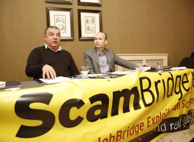 Paul Murphy MEP (right) and Martin Malone, photographer and JobBridge intern, at today's press conference.