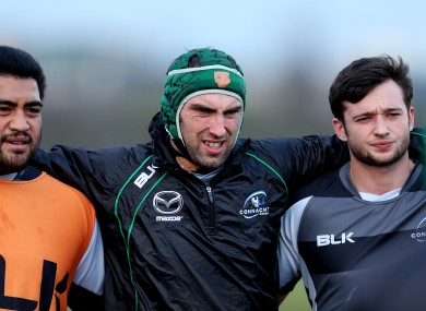 Rodney Ah You, John Muldoon and Conor Finn gather after a training session this week.