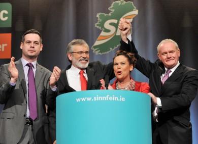 Sinn Féin leaders Pearse Doherty, Gerry Adams, Mary-Lou McDonald and Martin McGuinness.