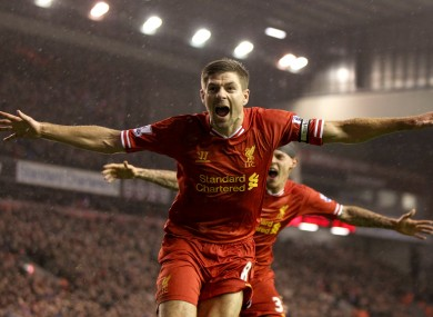 Gerrard celebrates his opener.