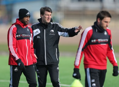 Swansea manager Michael Laudrup on the traning ground (file photo).
