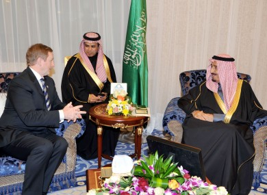 Enda Kenny with HRH Crown Prince Salman bin Abdul Aziz al Saud, Saudi's deputy prime minister, in Riyadh yesterday.