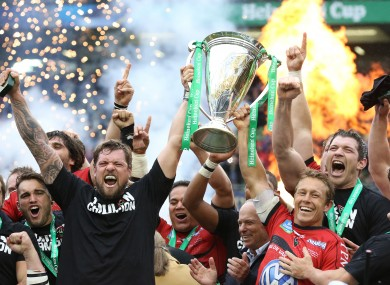 Sebatian Bruno and Jonny Wilkinson lift the Heineken Cup last season.