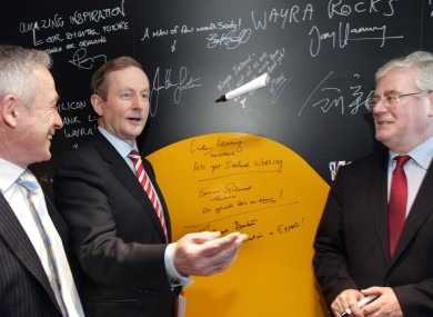 Richard Bruton, Enda Kenny, a marker, and Eamon Gilmore at the launch of the 2014 Action Plan for Jobs this week.