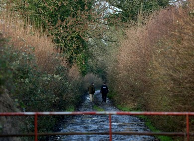 A road sealed off by gardai leading to the crime scene in Kilbride, Clara.