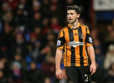 Shane Long: Sunderland defender Wes Brown was dismissed for challenge on Irish striker.