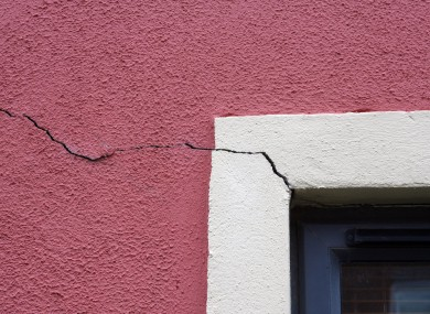 Cracks in the walls of a house in Clongriffin, north Dublin. Remedial work has since been carried out on these houses to completely rectify the problem.