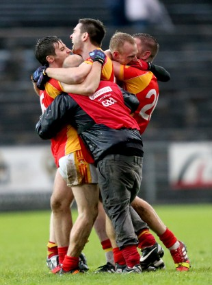 Castlebar celebrate their county title. They face Munster champions Dr Crokes this afternoon.