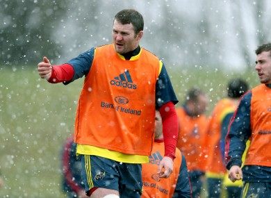 Donnacha Ryan pictured at Munster's training session at U.L today.