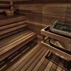 A dry sauna is hidden behind a two-way mirror door next to her walk-in closet.