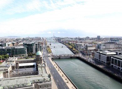The view from Liberty Hall in Dublin looking over the Custom House.