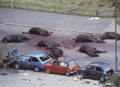 Horses lie dead after the bomb in Hyde Park in July 1982.