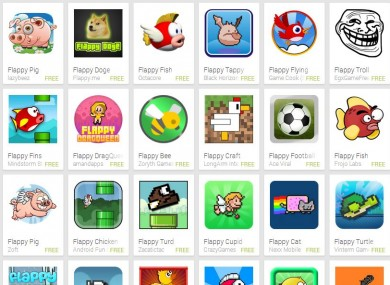 A small selection of the number of Flappy Bird clones currently in the Google Play store.