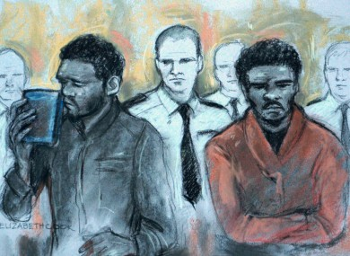 Court artist sketch of Michael Adebowale and Michael Adebolajo.
