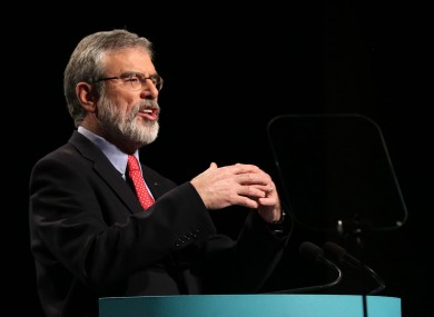 Gerry Adams during his keynote address at the Sinn Féin Ard Fheis last night