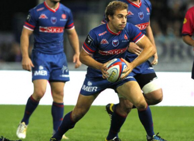 James Hart starts another backline move for Grenoble.