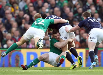 Marshall and O'Driscoll combine to tackle Sean Maitland.
