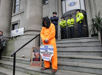 Protester Colm Reddy at the Department of Justice in Dublin.