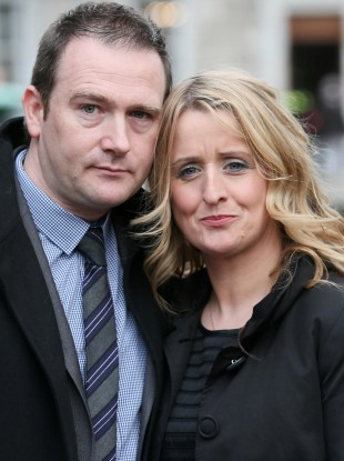 Mark and Roisin Molloy outside Leinster House today