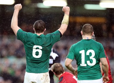 O'Mahony [left] celebrates Ireland's win in Dublin.