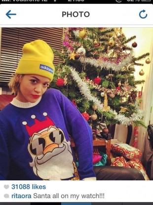 R'n'B star Rita Ora modelled her Funky Christmas Jumper on her Instagram account - a neat digital distribution boost for the Irish-based company.