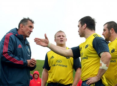 Rob Penney lets Damien Varley have his say on the training ground.