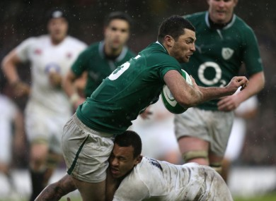 Courtney Lawes has a run-in with Rob Kearney's knee during last season's Six Nations.