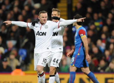 Manchester United's Wayne Rooney celebrates scoring their second goal.