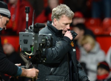 Manchester United manager David Moyes leaves the pitch after yesterday's Barclays Premier League match at Old Trafford