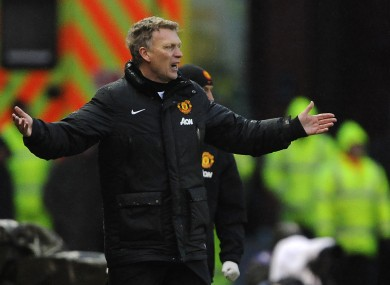 Manchester United's Manager David Moyes shows his frustration during the game against Stoke City.