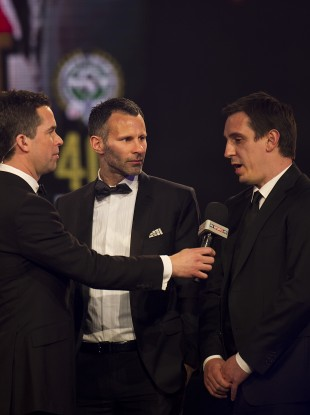 Giggs (centre) and Neville (right).