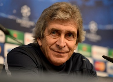 Manchester City manager Manuel Pellegrini at today's press conference.