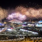 Fireworks explode over Olympic Park at the end of the closing ceremony of the 2014 Winter Olympics in Sochi, Russia. <span class=