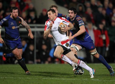 Tommy Bowe runs in his first try of the night for Ulster.