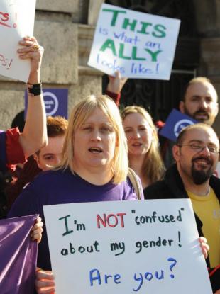 Demonstration for gender legal recognition outside Leinster House in Dublin October, 2012