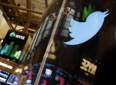 The Twitter logo at the NY Stock Exchange
