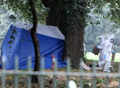 Gardaí investigate the scene where Gerard Donnelly's body was discovered.