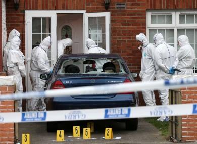 Members of the Garda Tehnical Bureau at the scene of a double shooting on Clifden Drive in Ballyfermot in Dublin.