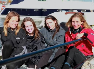 Sitting on the boat, left to right: Emily Blagden, Aoife Ní Mhaoileoin, Laura Kennington and Ingrid Kvale.