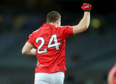 Colm O'Neill celebrates his late point for Cork.