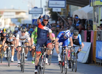 Team Iam's Matteo Pelucchi crosses the finish line to win stage 2 of Tirreno ahead of Ireland's Sam Bennett in fourth, far right.