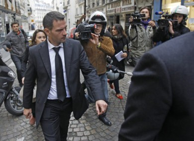 Former trader Jerome Kerviel leaves his lawyer's office in Paris.