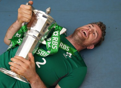Ireland's Jamie Heaslip with the Six Nations trophy.