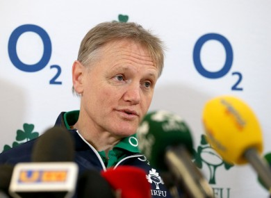 Joe Schmidt speaking to the media at Lansdowne Road today.