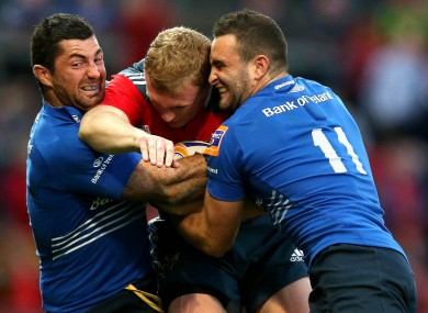 Keith Earls in a Kearney sandwich last September.
