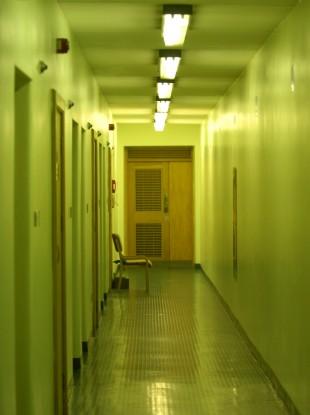 An empty corridor in the women's prison at Mountjoy, Dublin