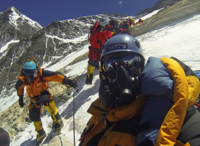 File: Climbers on Everest