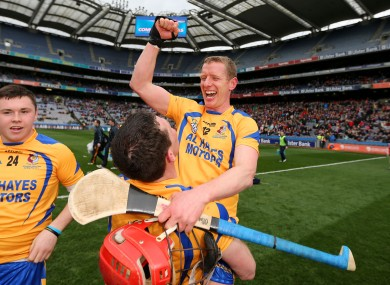 Ollie Canning celebrates Portumna's victory.