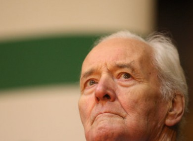 Tony Benn at a meeting of the Palestine Solidarity Campaign in London.